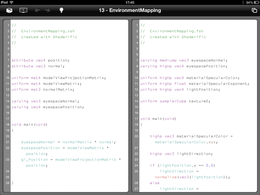 Shaderific code editor